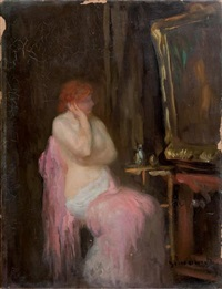 femme devant un miroir by michel simonidy