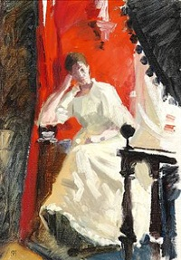 interior with an elegant young woman in a white dress. presumably the painter's wife dagny by paul gustave fischer