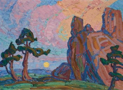 moonrise among the red rocks by birger sandzen