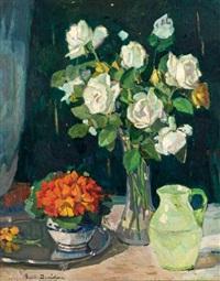 roses blanches et capucines by bessie ellen davidson