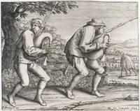 les joueurs de cornemuses avançant vers la droite (after brueghel) by hendrik hondius the elder