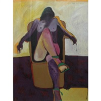 woman with green shoes by fritz scholder