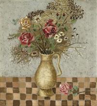 blumenstrauß (blumenstillleben mit rosen, blumenstrauß in vase) by bruno goller
