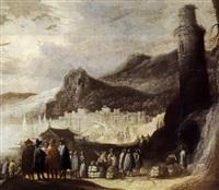 händler am stand vor hohem leuchtturm by pieter michiel (den hyger) staal