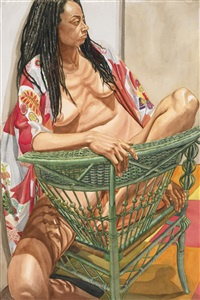 model with dreadlocks on green wicker chair by philip pearlstein