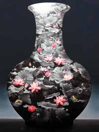 lotus - porcelain vase by deng wushu