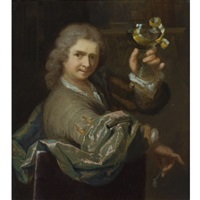 portrait of a young man holding a pipe and a roemer with a half-peeled lemon by arnold boonen