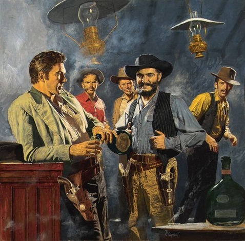 man pouring himself drink in bar as three others approach him (illus. for saturday evening post) by earl mayan