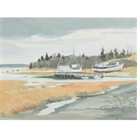 boats on the shore, st. joseph de la rive, que., oct 29 by ron jamieson
