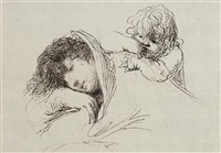 a sleeping woman, an infant leaning on her shoulder by domingos antonio de sequeira