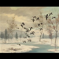 geese in winter by harry curieux adamson