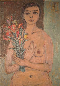female nude with flowers by michael argov