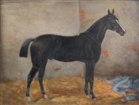 brauner im stall und rappe im stall (pair) by emil volkers
