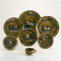deldare ware fallowfield hunt (7 works) by buffalo pottery