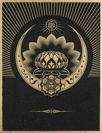 obey lotus crescent (black & gold) by shepard fairey