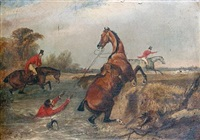 hunting mishaps (+ 3 others; set of 4) by francis calcraft turner