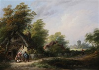 selling chickens at a cottage door by john anthony puller