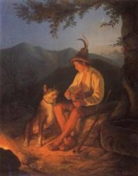 sennerbub mit hund am lagerfeuer by josef valentin