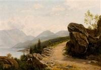 höhenweg mit blick auf seenlandschaft by wilhelm julius august nabert