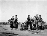 fischerfrauen am strand by john m. rogier