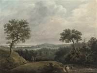 figures and a horse in an extensive landscape by james nasmyth