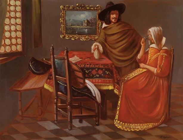 herr und dame beim wein by johannes van delft vermeer