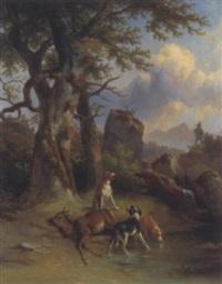 hunde bei einem erlegten rehbock by leopold ludwig müller