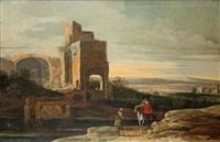 paysage de la campagne romaine avec un cavalier et un villageois près d'un édifice antique en ruine by charles cornelisz de hooch