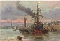 vessels moored at the quay, a french port by altamura