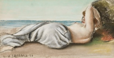 femme allongée sur la plage by georges hanna sabbagh