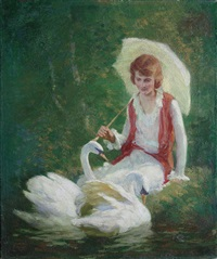 woman with parasol seated at swan pond (magazine cover illus. for august issue of womans home companion) by harvey emrich