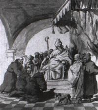 moines agenouillês devant un évêque by giovanni raggi