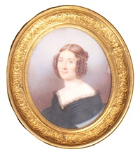 portrait de femme au corsage en dentelle by henry caubert