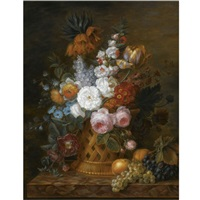 still life of roses, lilacs, imperial crown, auriculas, a parrot tulip and other flowers in a basket, with peaches and blue and white grapes, set on a marble ledge by cornelis van spaendonck