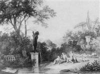 paysage avec jeunes musiciennes, berger et son troupeau by louis gadbois