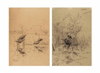 two duck decoys amongst reeds (+ four duck decoys; 2 works) by paul joseph constantin gabriël