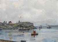båtliv ved festningen by betzy akersloot-berg