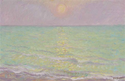 sunset at veules les roses seine mar by theodore earl butler