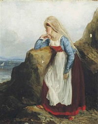 a maiden waiting by the shore by alexandre marie colin