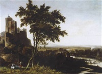 a landscape with a drover and his cows overlooking a riverside town by gerrit (gerard) battem