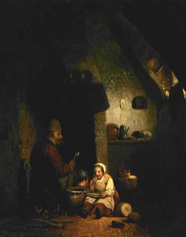 bauer mit kind in der küche by adrien ferdinand de braekeleer