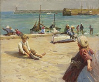 children on the quay, newlyn by harold harvey