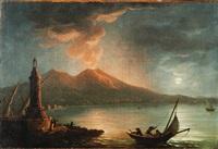 veduta notturna del golfo di napoli con vesuvio in eruzione by posillipo