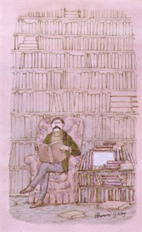 man in library with television nearby by edward gorey