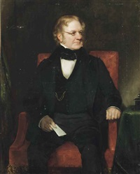 portrait of thomas richter, three-quarter-length, seated in a black suit, with a paper in his right hand by henry william pickersgill