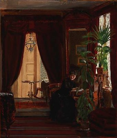 interior with a woman writing letters by christian jens c thorrestrup