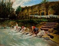 lavanderas en el río by tomás muñoz lucena