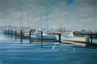 moored boats, swan river by brian simmonds