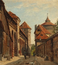 street scene from nuremberg, germany by august fischer