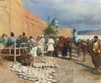persian café - the pottery seller by edwin lord weeks